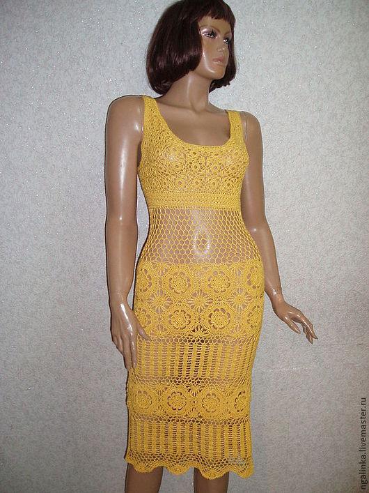 Платья ручной работы. Ярмарка Мастеров - ручная работа. Купить платье из хлопка Солнечное. Handmade. Желтый, ажурное платье