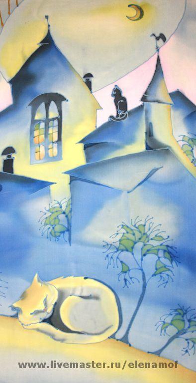 Животные ручной работы. Ярмарка Мастеров - ручная работа. Купить панно Спящая кошка. Handmade. Панно на шёлке, декоративное панно
