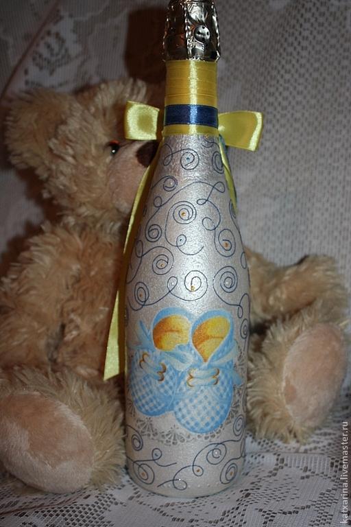 """Подарочное оформление бутылок ручной работы. Ярмарка Мастеров - ручная работа. Купить Подарочная бутылкка """"С рождением малыша!"""". Handmade."""