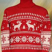 """Одежда ручной работы. Ярмарка Мастеров - ручная работа Тату-свитер - """"Серенада со снежинками"""" красно-белый. Handmade."""