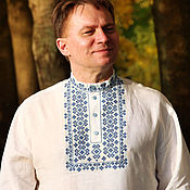 Русский стиль handmade. Livemaster - original item The Festive white linen shirt with embroidery cross. Handmade.