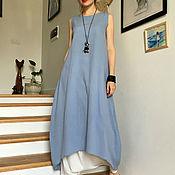Одежда ручной работы. Ярмарка Мастеров - ручная работа Платье-туника из жатого хлопка IRIS. Handmade.