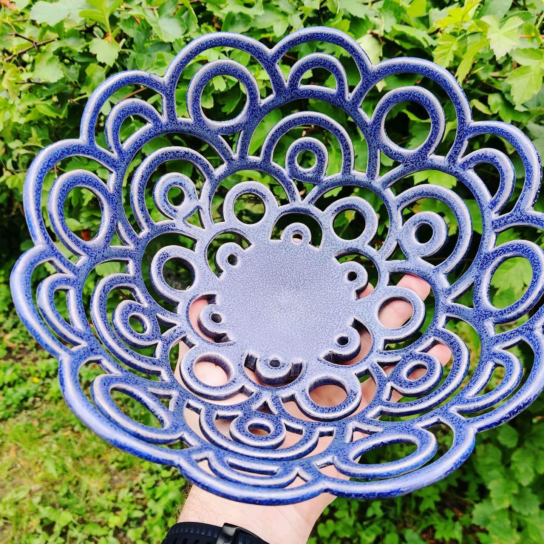 Carved ceramic fruit dish ' Geometry', Plates, Sergiev Posad,  Фото №1