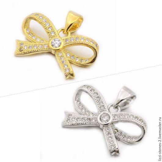 Подвеска Бантик серебро и золото (Milano) Евгения (Lizzi-stones-2)