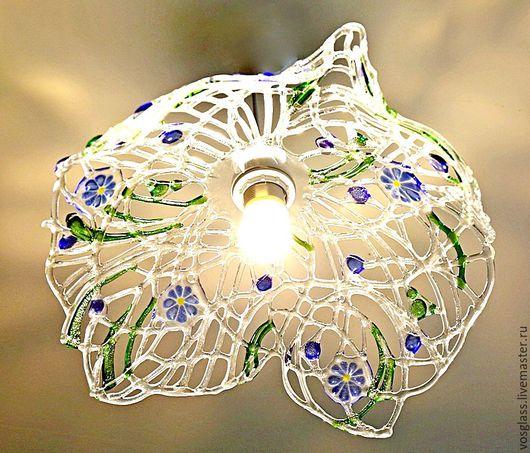 """Освещение ручной работы. Ярмарка Мастеров - ручная работа. Купить Фьюзинг светильник """"Летняя паутинка"""" ажурное стекло, фьюзинг. Handmade."""
