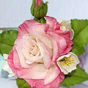 Украшения handmade. Livemaster - original item Brooch rose flower,Jasmine,cherry blossom,rose brooch.Modeling.Polymer clay. Handmade.