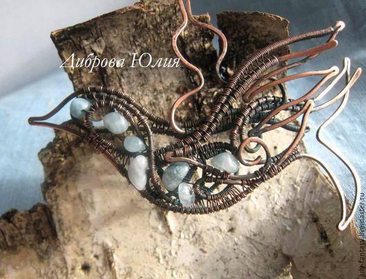 Шпилька медная `Синяя птица`. Wire Wrap, аквамарин. Июльские фантазии. Ярмарка Мастеров - ручная работа. Handmade.