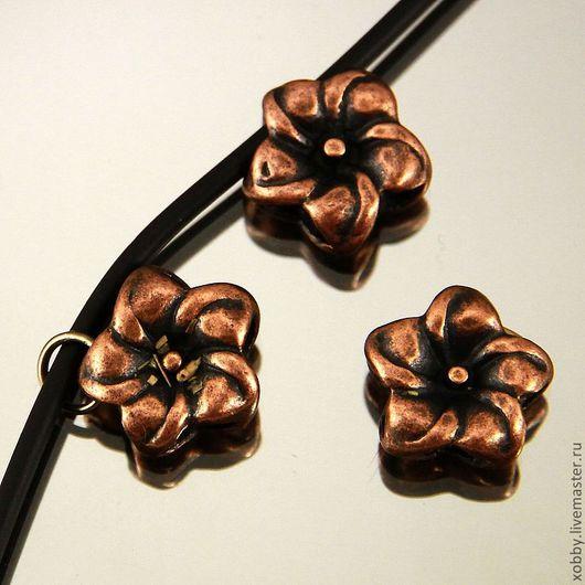 Бусина подвеска металлическая Цветок с покрытием имитация античная медь для использования в сборке украшений
