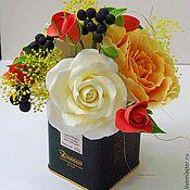 Цветы и флористика ручной работы. Ярмарка Мастеров - ручная работа Осенний поцелуй - цветочная композиция. Handmade.