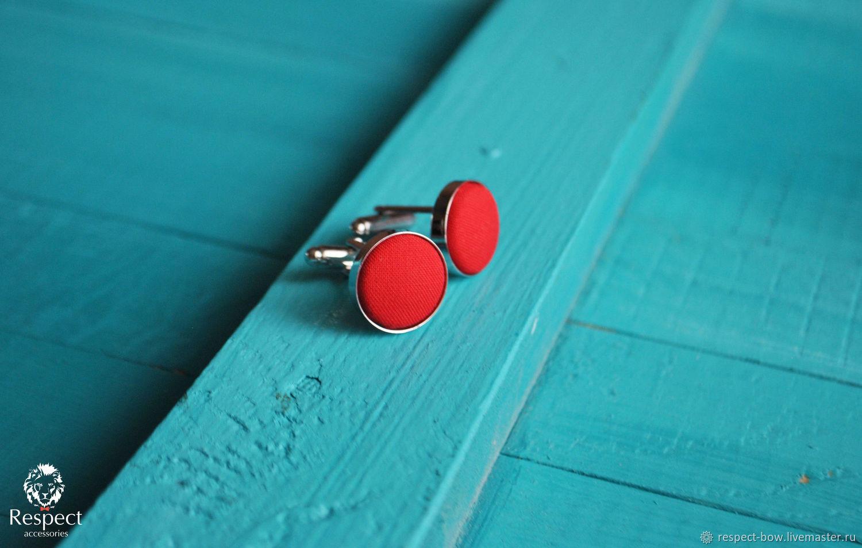 Cufflinks red round Wedding Man
