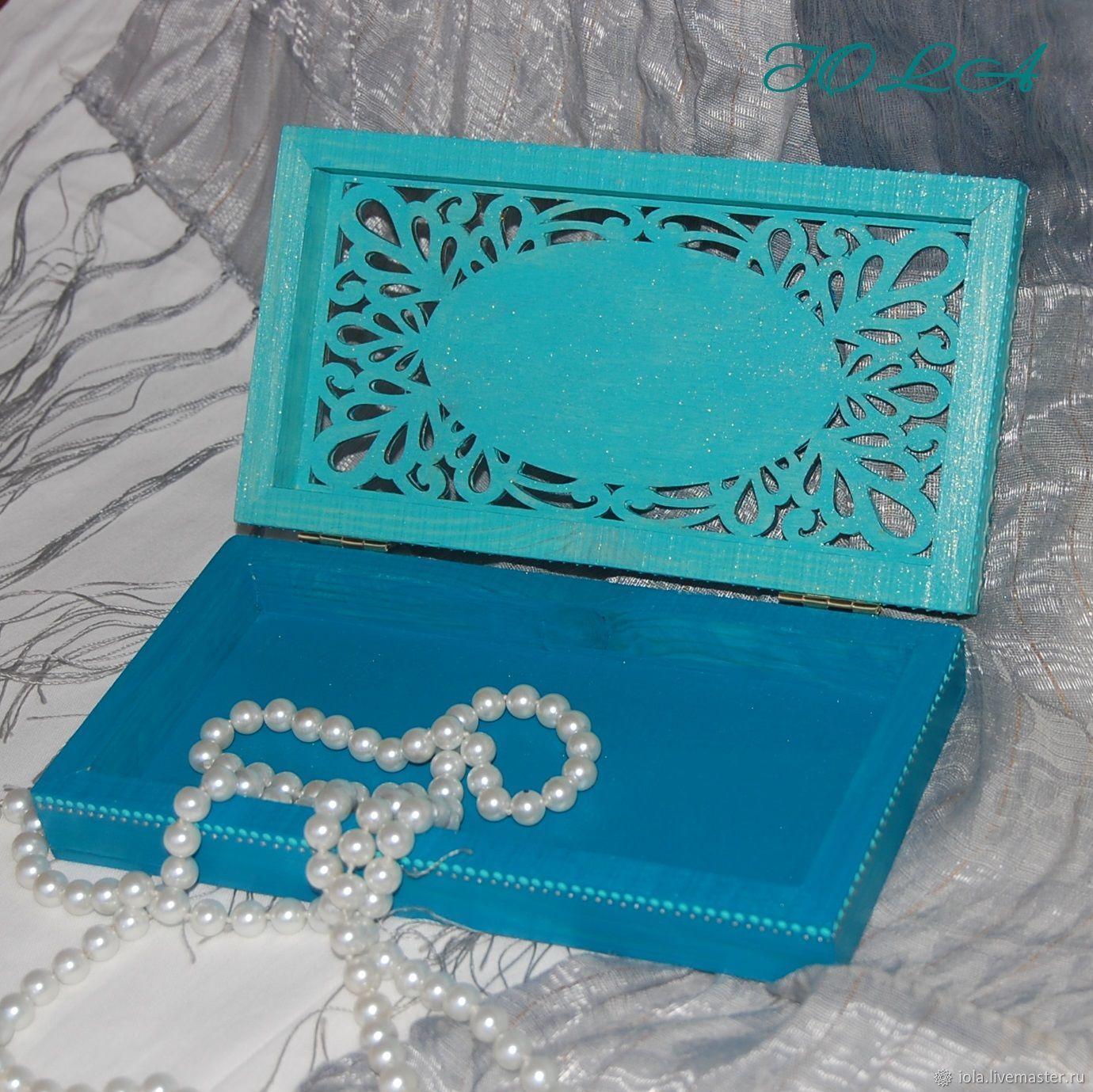 Шкатулка Купюрница бирюзовая с серебром Роспись