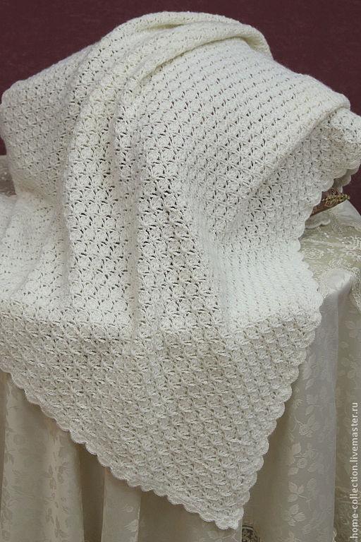 """Текстиль, ковры ручной работы. Ярмарка Мастеров - ручная работа. Купить Плед детский """"Ангел мой"""". Handmade. Белый, альпака"""