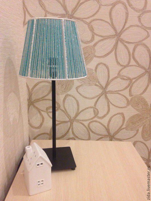 """Освещение ручной работы. Ярмарка Мастеров - ручная работа. Купить Лампа из бисера """"Бирюзовая безмятежность"""". Handmade. Бирюзовый, белый"""