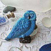 Украшения ручной работы. Ярмарка Мастеров - ручная работа Синяя сова - брошь, синяя птица брошка, синий, брошь с совой. Handmade.