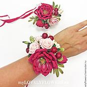 Свадебный салон ручной работы. Ярмарка Мастеров - ручная работа Браслет вишневый из полимерной глины. Handmade.