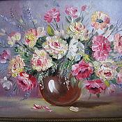 """Картины ручной работы. Ярмарка Мастеров - ручная работа Картина маслом цветы на холсте. """" Розы нежность"""". Handmade."""