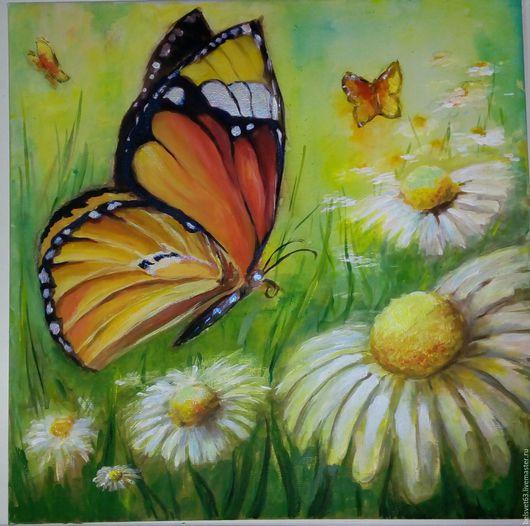 Животные ручной работы. Ярмарка Мастеров - ручная работа. Купить Бабочка. Handmade. Разноцветный, ромашковое поле, бабочки, картина для интерьера