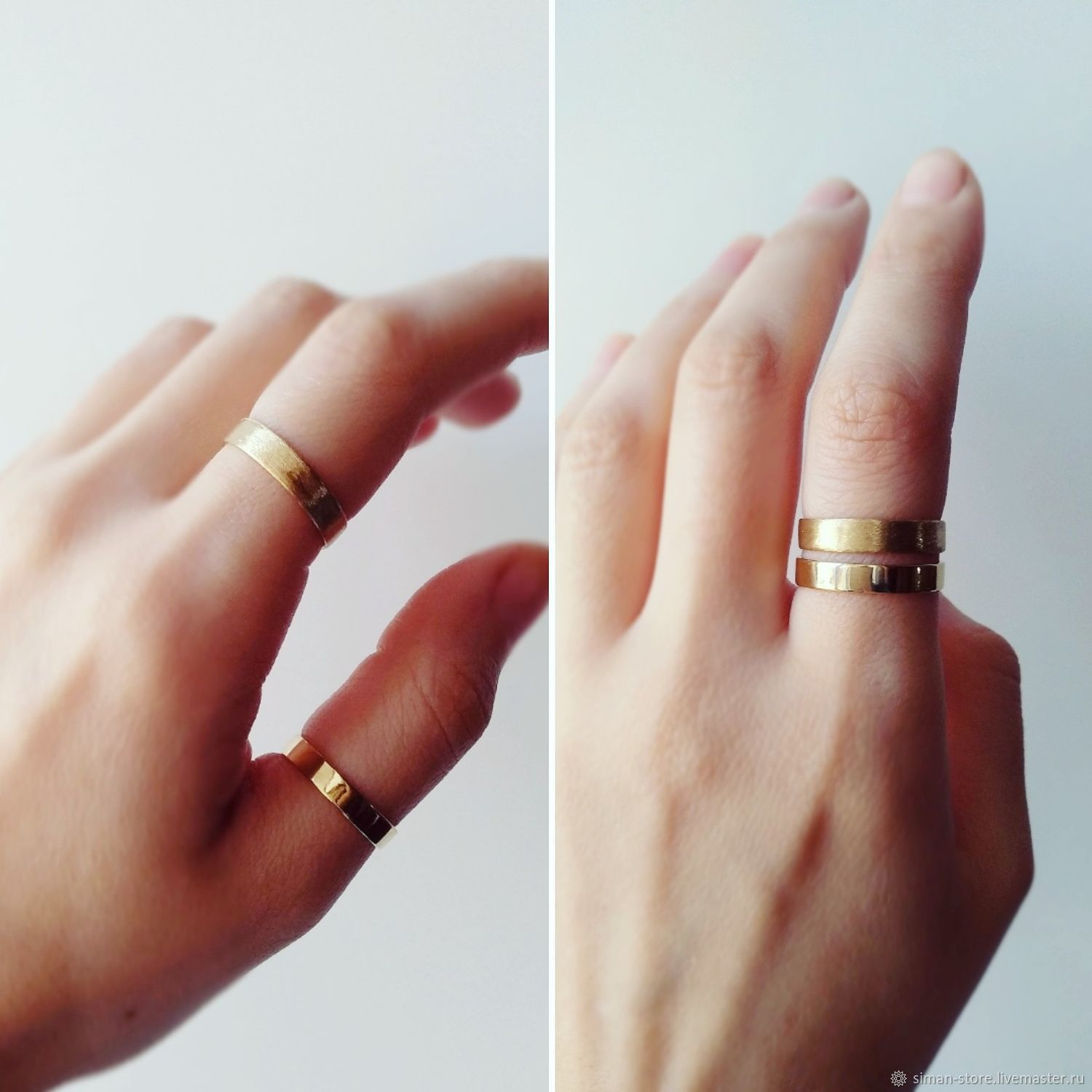 Brass rings, glossy and matte. Seth, Rings, St. Petersburg,  Фото №1