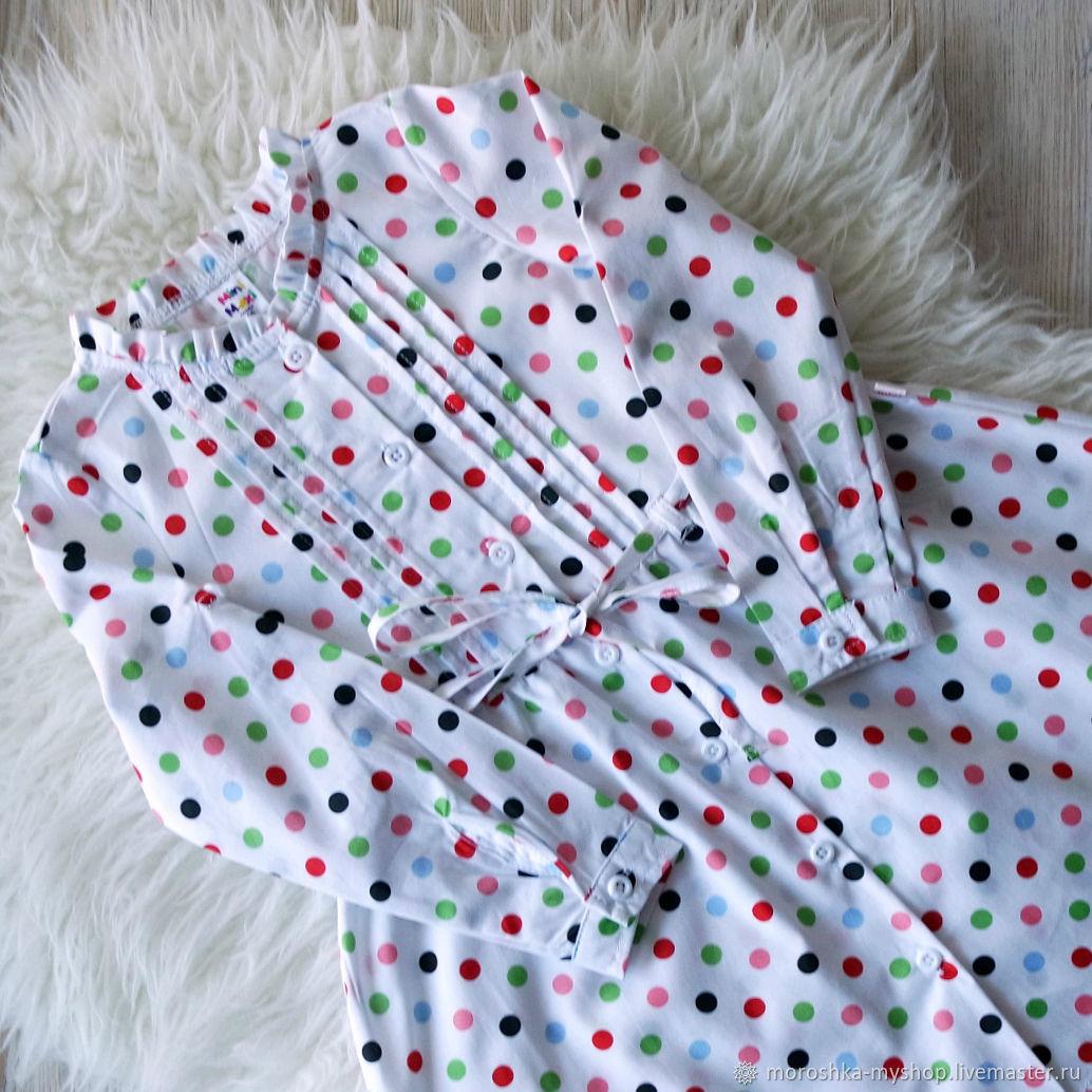 Платье для девочки Белое в горошек
