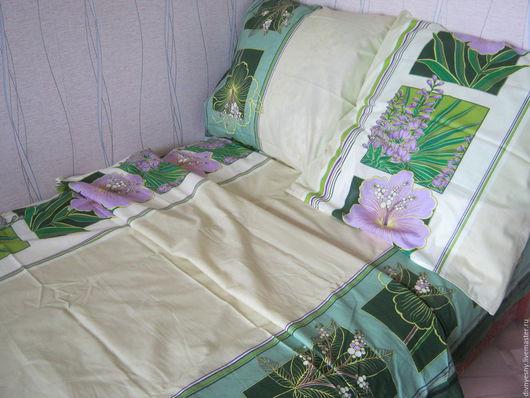 """Текстиль, ковры ручной работы. Ярмарка Мастеров - ручная работа. Купить 1,5-спальный комплект """"Клементина"""". Handmade. Зеленый"""