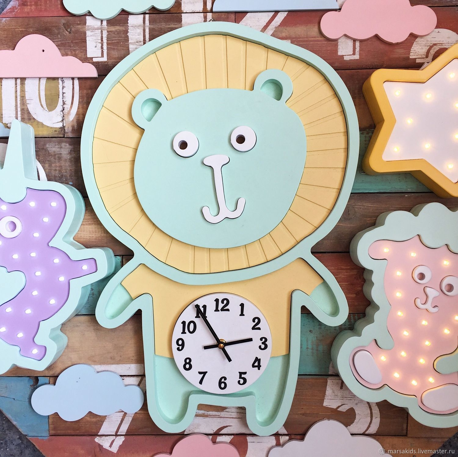 Clock Lion - choose your color, Lamp, Moscow, Фото №1