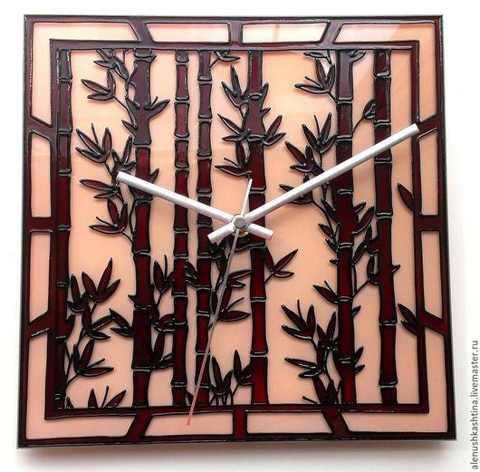 """Часы для дома ручной работы. Ярмарка Мастеров - ручная работа. Купить Часы настенные """"Бамбук"""". Handmade. Бордовый, Витраж, восток"""