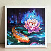 Картины и панно handmade. Livemaster - original item Oil painting with koi fish