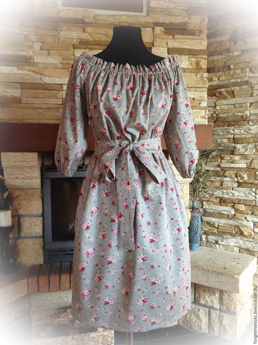 """Платья ручной работы. Ярмарка Мастеров - ручная работа. Купить Платье """"Розы на сером"""". Handmade. Серый, платье из хлопка, резинка"""