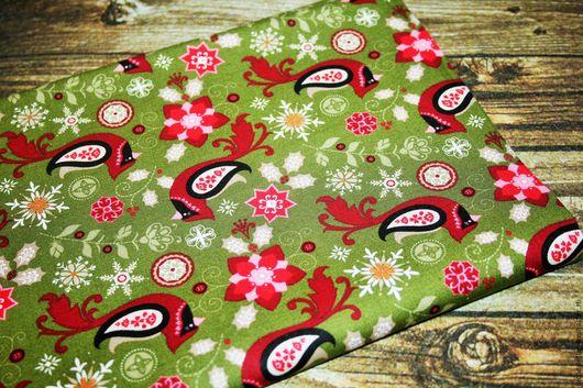 Шитье ручной работы. Ярмарка Мастеров - ручная работа. Купить США Рождественская ткань Хлопок. Handmade. Зеленый, рождественские ткани