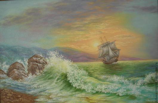 Пейзаж ручной работы. Ярмарка Мастеров - ручная работа. Купить Картина маслом Морской пейзаж. Handmade. Картина маслом, море