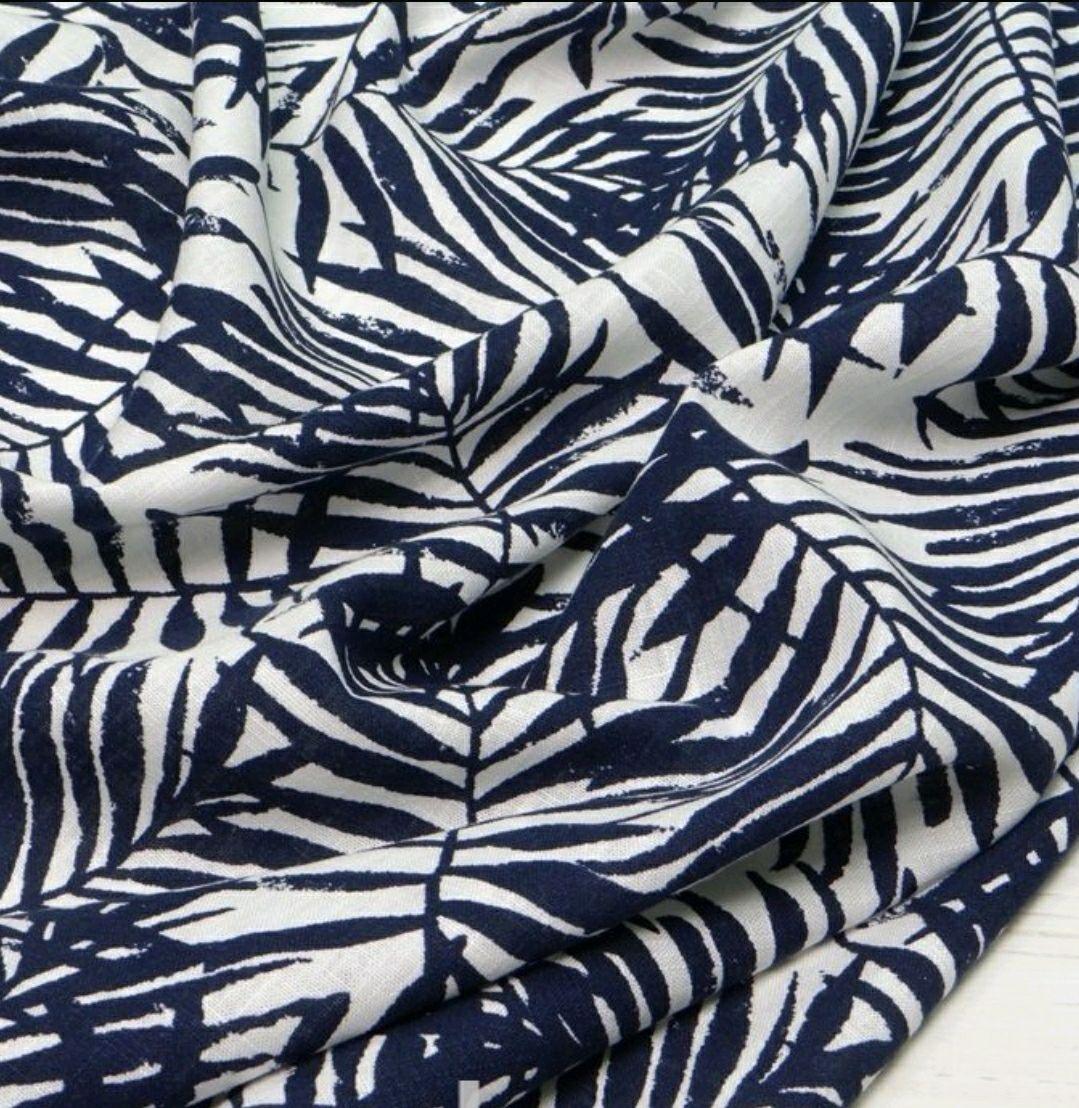 Ткань лен , листья синие  НА 01, Ткани, Москва,  Фото №1