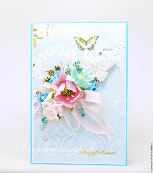 """Открытки для женщин, ручной работы. Ярмарка Мастеров - ручная работа. Купить Открытка """"Поздравляю!"""". Handmade. Бледно-розовый, открытка, открытки"""