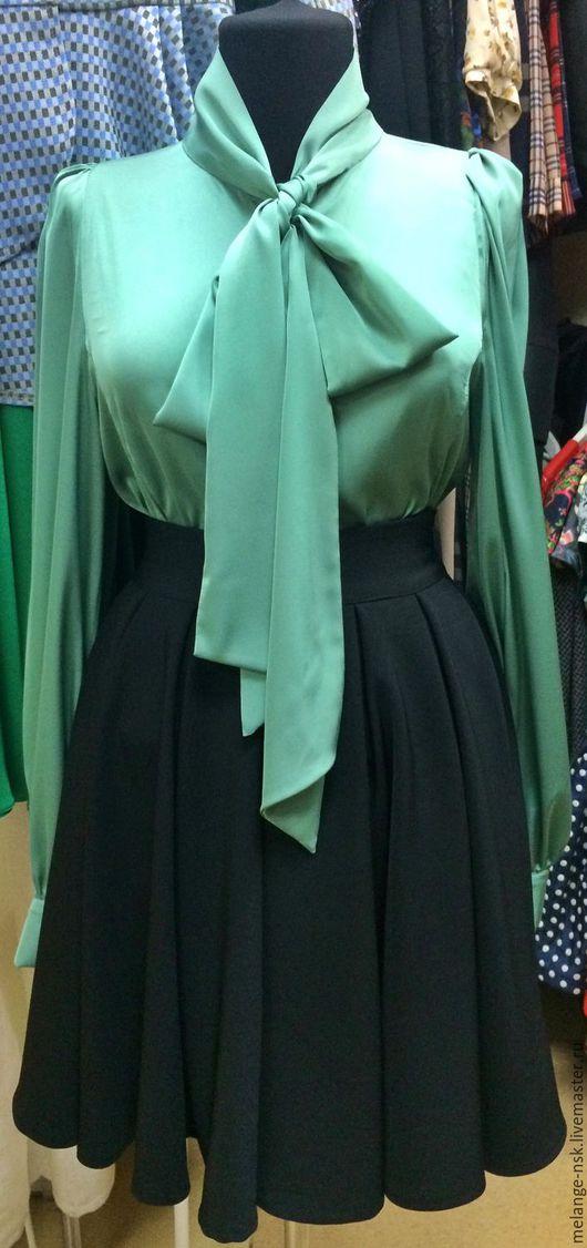 Блузки ручной работы. Ярмарка Мастеров - ручная работа. Купить 2.900р!!!!Шелковая блуза с бантом. Handmade. Мятный, красивая блузка
