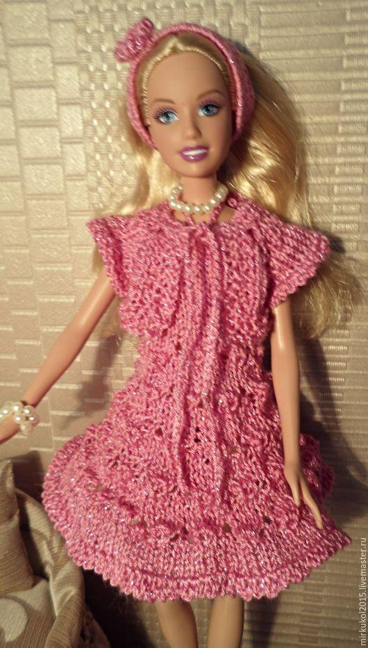 Одежда для кукол ручной работы. Ярмарка Мастеров - ручная работа. Купить Вязаное платье для Барби. Handmade. Розовый, пряжа акрил