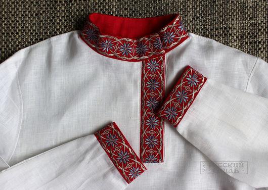 """Для мужчин, ручной работы. Ярмарка Мастеров - ручная работа. Купить Косоворотка """"Алатырь"""". Handmade. Белый, мужская одежда"""