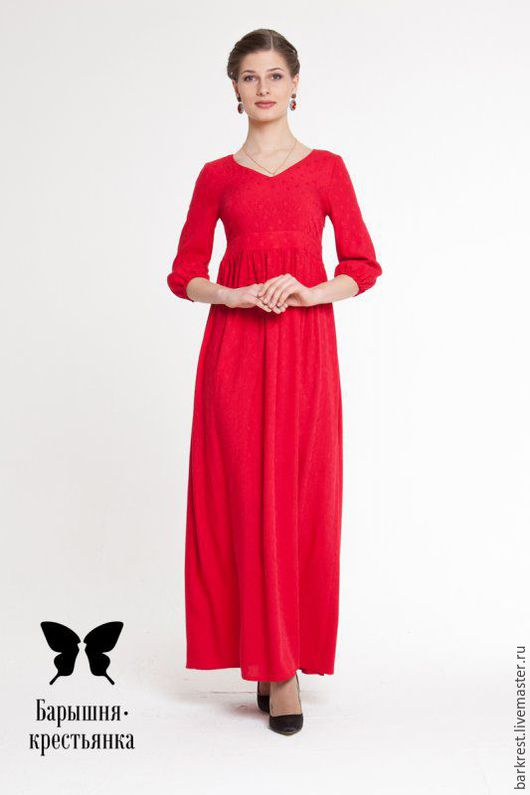 Платья ручной работы. Ярмарка Мастеров - ручная работа. Купить Красная поляна. Handmade. Ярко-красный, платье в пол