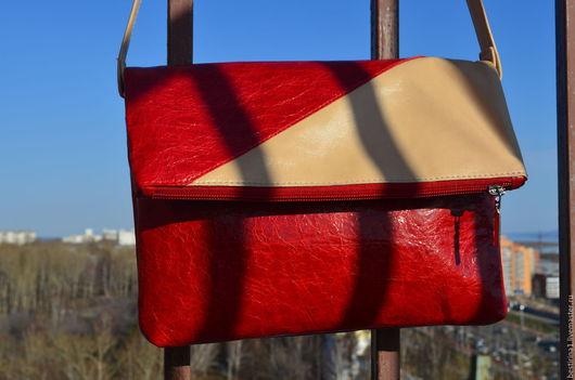 Женские сумки ручной работы. Ярмарка Мастеров - ручная работа. Купить Сумка кожаная женская. Handmade. Ярко-красный, кожа
