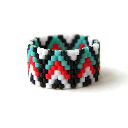 Кольца ручной работы. Ярмарка Мастеров - ручная работа. Купить Необычное кольцо из бисера Яркое этно-кольцо с узором. Handmade.