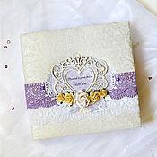 """Свадебный салон ручной работы. Ярмарка Мастеров - ручная работа Свадебный фотоальбом """"Lavender"""", подарок на свадьбу. Handmade."""