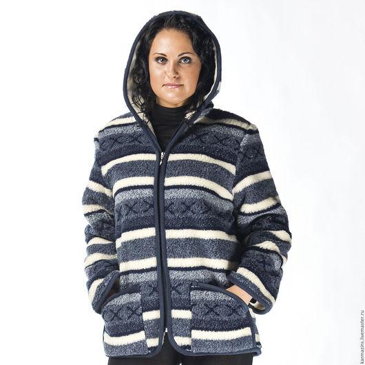 Верхняя одежда ручной работы. Ярмарка Мастеров - ручная работа. Купить СКАНДИ БЛУ Куртка двухслойная из шерсти Мериноса. Handmade.