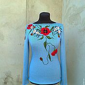 Одежда ручной работы. Ярмарка Мастеров - ручная работа свитерок вязаный  цветочный. Handmade.