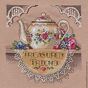 """Картины и панно ручной работы. Ярмарка Мастеров - ручная работа Вышитая картина """"Кружевной чайничек"""". Handmade."""