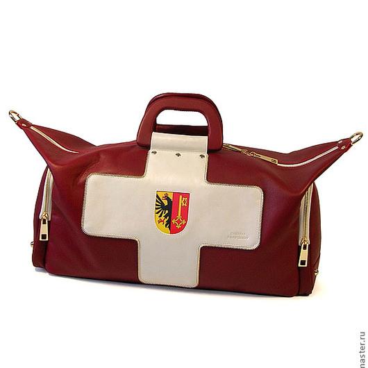 """Спортивные сумки ручной работы. Ярмарка Мастеров - ручная работа. Купить Фитнес сумка из натуральной кожи """"Switzerland"""". Handmade."""