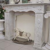 Для дома и интерьера ручной работы. Ярмарка Мастеров - ручная работа Камин деревянный белый Прованс 3К, состаренный. Handmade.