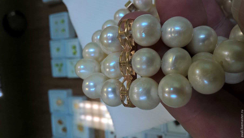 Браслет жемчуг, золото, бриллианты