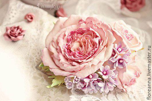 Заколки ручной работы. Ярмарка Мастеров - ручная работа. Купить Зажим с английскими розами. Handmade. Розовый, цветы, украшение из фоамирана