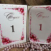 Свадебный салон handmade. Livemaster - original item Table numbers rose white and vintage.. Handmade.