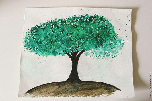 Картины цветов ручной работы. Ярмарка Мастеров - ручная работа. Купить Картина акварелью Изумрудное дерево. Handmade. Дерево
