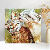 Картины и панно handmade. Livemaster - original item Oil painting cat and cat, romance Warm stories about the main thing. Handmade.