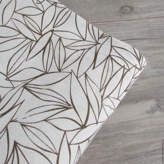 Ткань лен натуральный. Листья.